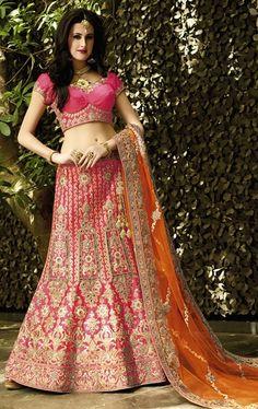 Picture of Fabulous Deep Pink Bridal Designer Lehenga Choli