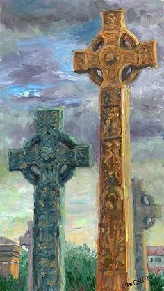 "Necropolis Crosses, Glasgow by Jan Clizer         Acrylic ~ 19 3/4"" x 11"" Classic Celtic Crosses in the famous Glasgow Cemetery.  $540 custom framed"