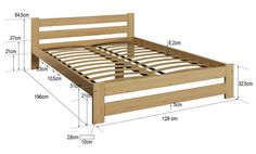 Details about Wooden Pinewood Bed Frame Small Double size Slats Varnished Wood Wood Bed Design, Bed Frame Design, Bedroom Bed Design, Bed Furniture, Pallet Furniture, Furniture Plans, Bed Frame Plans, Diy Bed Frame, Bed Frame Sizes