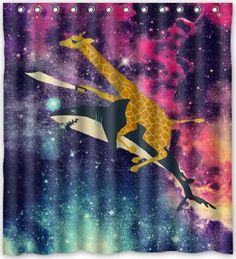 Popular Design Space Nebula Universe Retro Galaxy Giraffe Riding Shark Never Stop Dreaming Pattern Shower Curtain