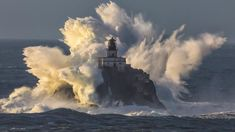 Tillamook Rock Lighthouse taken by Shaun Peterson during Friday's storm surge on the Pacific Northwest coast [2048  1151][OS]