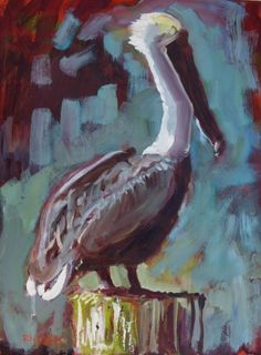 Loosely Pelican, painting by artist Rick Nilson