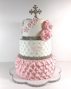 Pink Bling Communion Cake - Cake by Dani Girl Baptism Party, Christian Cakes, First Holy Communion Cake, Confirmation Cakes, Baptism Cakes, Bolo Floral, Indian Cake, Communion Dresses, Girl Cakes