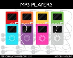 MP3 Players Clipart - Digital Clip Art Graphics for Personal or Commercial Use