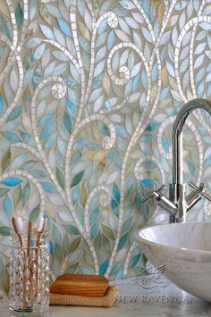 Climbing Vine, a handmade mosaic, is shown Aquamarine and Quartz jewel glass. For pricing samples and design help, click here: http://www.newravenna.com/showrooms/