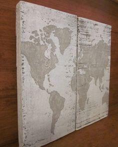 World Map - Handpainted Wood Sign