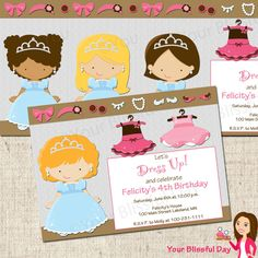 PRINTABLE Dress Up Girl Party Invitation (Character of your choice)