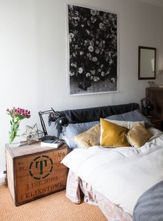 wooden box as bedside table (via Design*Sponge) - my ideal home...