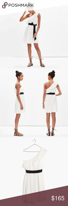 Madewell Eyelet One Shoulder Montmartre Dress L Asymmetrical off shoulder style, romantic ruffles, pretty white eyelet fabric, and a feminine black silk bow. This cute, flirty dress is a seasonal must have. Midi length. Bright ivory.   Size large  ❌ Sorry, no trades. Madewell Dresses One Shoulder