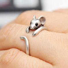 Simple Black Cubic Zircon Setting Baby Hamster Band, Antique Rhodium or Antique Brass Finished, Ring on Etsy, $9.50