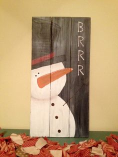 Wooden signs Christmas sign winter sign snowman by ToadEweSewPrims