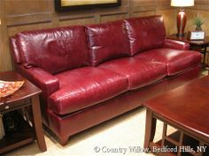 Leather sofa available in loveseat, apartment sofa, sofa and chair. Over 1000 fabrics, many cushion options- Country Willow Furniture