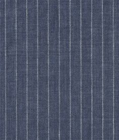 Blue Pinstripe Chambray Linen Fabric - $24.55 | onlinefabricstore.net  re-upholstering living room chairs