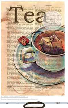 "An art studio must always be equipped with a hot cup of tea! (""Tea"" Mixed Media Drawing on Distressed, Dictionary Page - flying shoes art studio by Tee Kunst, Dictionary Art, Tea Art, Shoe Art, Altered Books, Art Plastique, Medium Art, Art Journals, Mixed Media Art"