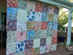Old Hawaiian shirts find a second life in this funky upcycled quilt!  Disassembling the shirts was tedious!