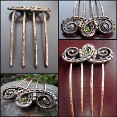 Synthesis Metal Hair Comb -  Hair Fork, hair pin, antiqued, wire wrapped, twisted, weaved
