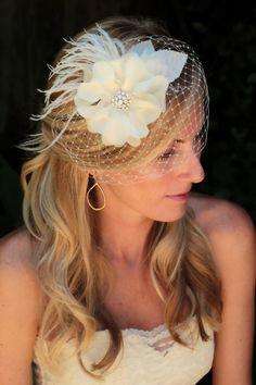 Lela bridal hair accessories , bridal hair flower, wedding veil Floral Fascinator with birdcage blusher veil.