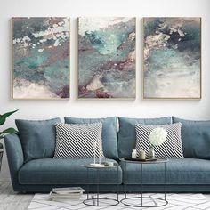 Conjunto com 3 quadros decorativos abstratos VERDE E ROSA Rustic Master Bedroom, Bedroom Art, Cuadros Diy, Modern Art Paintings, Interiores Design, Decoration, Painting Inspiration, Furniture Decor, Love Seat