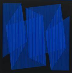 Julian Stanczak, Blue Cut-Out Fold, 1970, Screenprint on paper