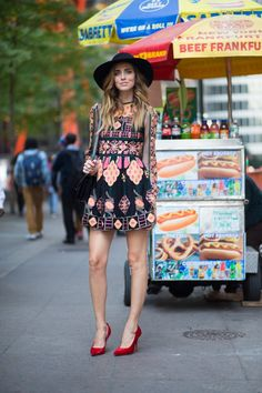 Chiara Ferragni Blonde Salad Valentino dress Celine pumps and Box bag Lanvin hat #streetstyle #NYFW SS15