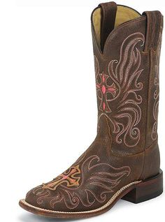 Women's Tony Lama San Saba 11 Tan NavaJo w/Painted Cross 7930L Leather Cowgirl Boots  #tonylama