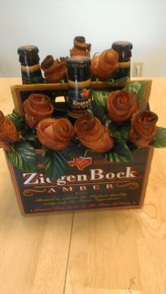 Bacon and beer bouquet I made for my hubby!