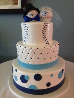 LA dodger theme wedding cake with baseball toppers