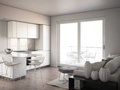 render build-design cucina salotto