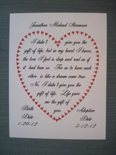 Adoption Celebration Ideas | 8x10 ADOPTION Picture & Poetry Photo ...