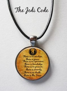 The Jedi Code Pendant Jedi Quote Pendant or Yoda by Keukasigns