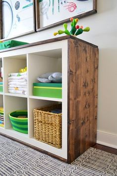 """Want to update your IKEA Expedit or Kallax Bookshelf? Then this is an easy tutorial for you. I added wood to my shelf to give it that little bit of an extra rustic look for my """"Rustic Glam Nursery"""". Y"""