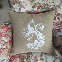 Loving my new #Pillowfolly throw pillow design! A fabulous #peacock embroidered in white, on soft linen burlap.... Coming soon! $40 each, wholesale inquiries welcomed :) #pillows #interiordesign #romantic #shabby #embroidery