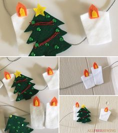If you're looking for DIY Scandinavian Christmas decorating ideas, then check out our easy sewing project. Use felt to create no-sew hygge garland. Diy Christmas Garland, Diy Garland, Christmas Stockings, Christmas Crafts, Christmas Decorations, Christmas Ideas, Christmas Sewing Patterns, Christmas Sewing Projects, Easy Sewing Projects