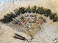 Eventail chinois peint plumes de paon monture en os bovin XIXe siècle