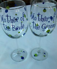 Mother of the Bride or Mother of the Groom polka dot wedding wine glasses. $10.00, via Etsy.