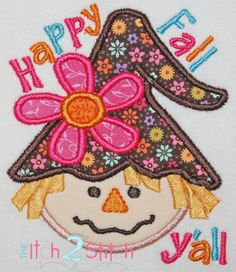 Scarecrow Girl Happy Fall Applique Design For by TheItch2Stitch