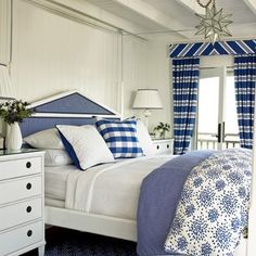 Blue and White Coastal Bedroom  Soothing Beachy Bedrooms - Coastal Living