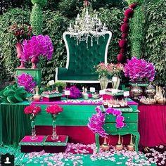 Emerald and fuschia