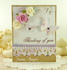 Inspired by Stamping, Joanna Munster, Big Notes Stamp Set, thinking of you card, CAS card, shabby chic card, purple