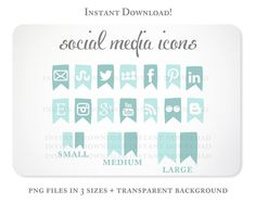 Iced Blue Social Media Icons Set for your Blog, $5