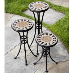 A Set of Three Plant Stands with Beautiful Geometric Mosaic Patterns & Designs