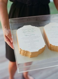 Wedding programs on an acrylic tray at a Soiree wedding #wedding #inspiration #stationery #letterpress