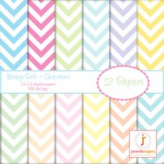 Cute for Easter! Instant Download Printable Pastel Chevron Paper 12 x 12, Digital Printable Scrapbooking Paper, Baby Shower, Invitation Paper, Commercial Use...