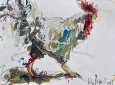 Large Abstract Rooster Painting - eBay Auction, painting by artist Robert Joyner