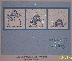 Melting snowman-Tags and More Snowman stamp, Itty Bitty Backgrounds stamp, Dazzling Diamonds Glitter, Aquapainter, Night of Navy Marker. Christmas Paper Crafts, Christmas Cards To Make, Noel Christmas, Xmas Cards, Holiday Cards, Handmade Christmas, Snowflake Cards, Snowman Cards, Stamping Up Cards