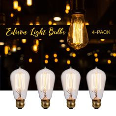 Litex 4 Pack Vintage Edison Bulb 60 Watt Showroom Quality Incandescent Teardrop Antique – Bulbs and Accessories – Residential Lighting Loop Lighting, Edison Lighting, Edison Bulbs, Lighting Ideas, Vintage Industrial Lighting, Industrial Light Fixtures, Vintage Light Bulbs, Residential Lighting, Brick And Stone