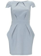 Closet Pale Blue Heart Jacquard Dress