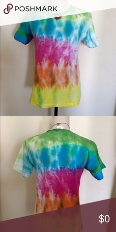 Hand-Made Tie-Dye Stripe Tee Youth small but fits like an adult XS. 100% cotton Tops Tees - Short Sleeve