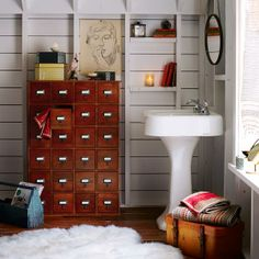 Library style media storage for bathroom organization
