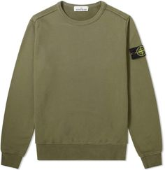 Stone Island Garment Dyed Crew Sweat In Green Classic Army, Stone Island, Cotton Sweater, Shirt Designs, Mens Fashion, Olive Green, Middle School, Sweaters, Mens Tops